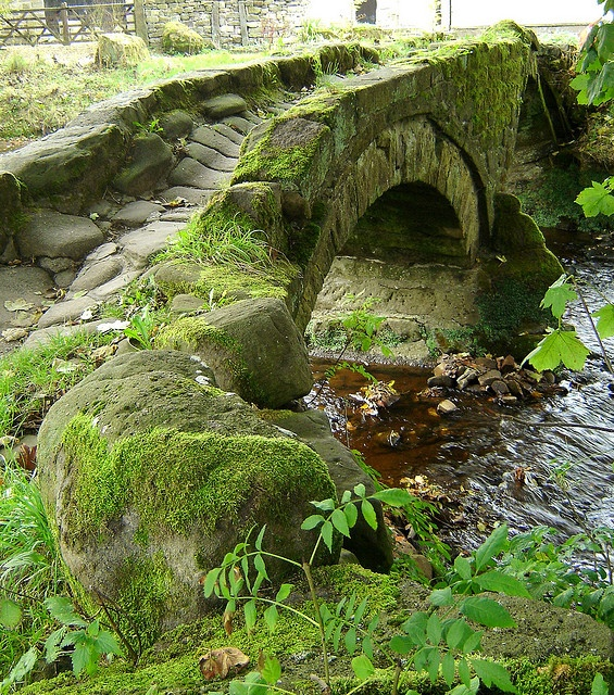 over 800-year old pack horse bridge in Lancashire, England