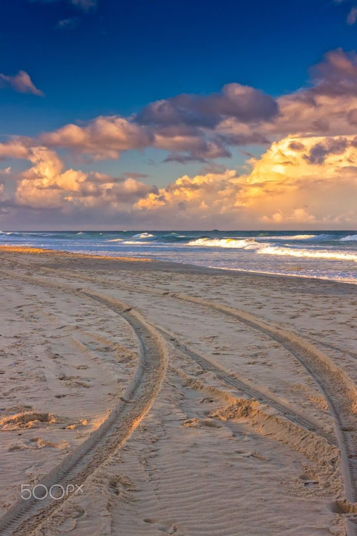 Tracks On The Beach - Lifeguard's buggy has left tracks on a beach in the city of Gold Coast, Queensland, Australia. The setting sun colors the beach beautifully.