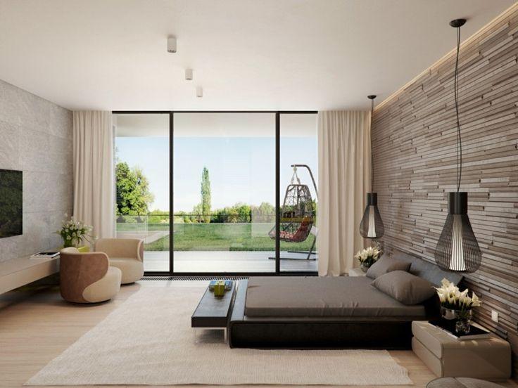Cama y banco negro en el dormitorio al estilo minimalista - Diseno interior minimalista ...