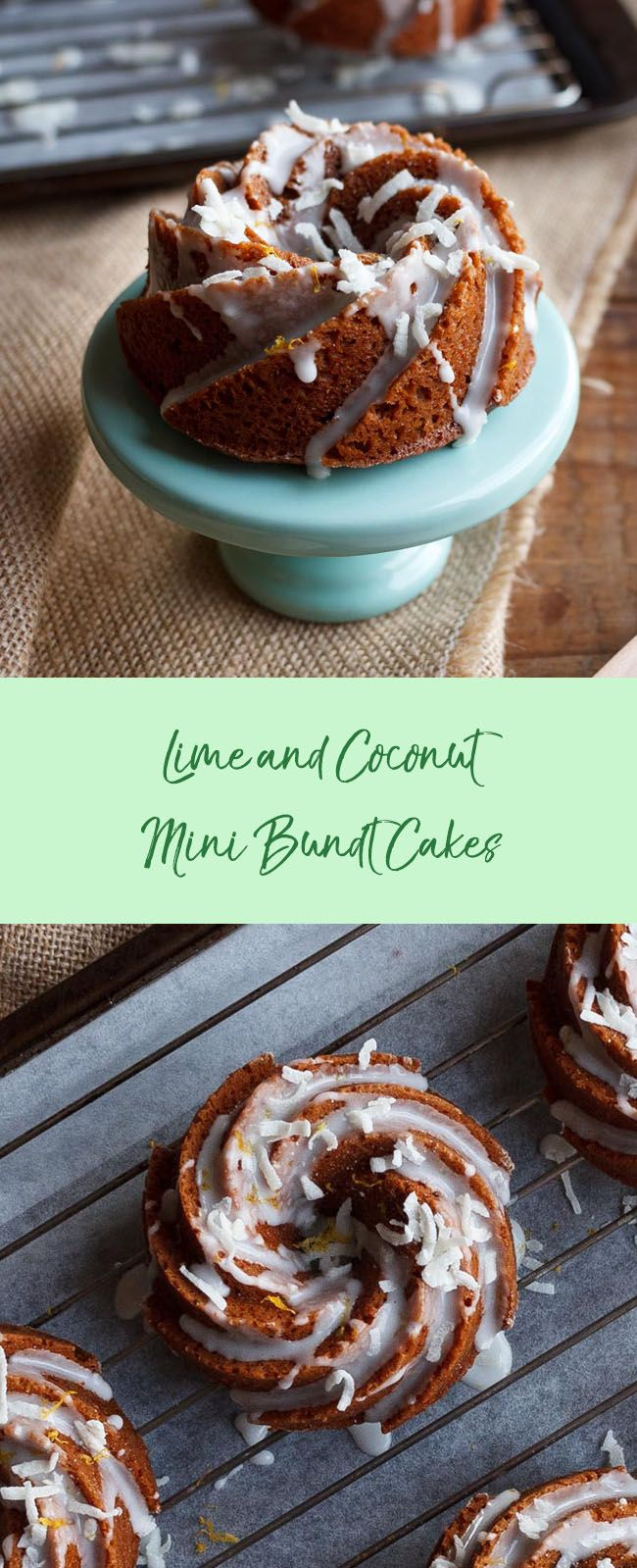 LIME AND COCONUT MINI BUNDT CAKES: I love mini cakes because they're easy to share and I tried to create tropical flavours with the lime and coconut.