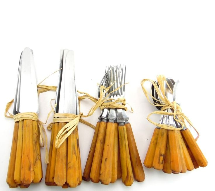 $99  35 Piece BAKELITE Brown Stainless Steel Art Deco Cutlery Flatware Set #BakeLite