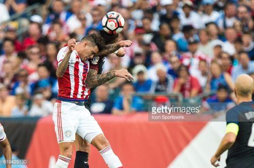 June 11 2016: Paraguay forward Antonio Sanabria (9) and…... #santacruzdemudela: June 11 2016: Paraguay forward Antonio… #santacruzdemudela