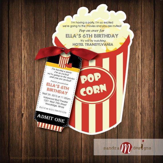 Invitation: Popcorn Bucket w/ticket by sandraMdesign on Etsy