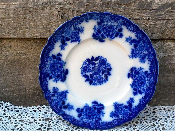 Antique flow blue plate waldorf new wharf pottery semi