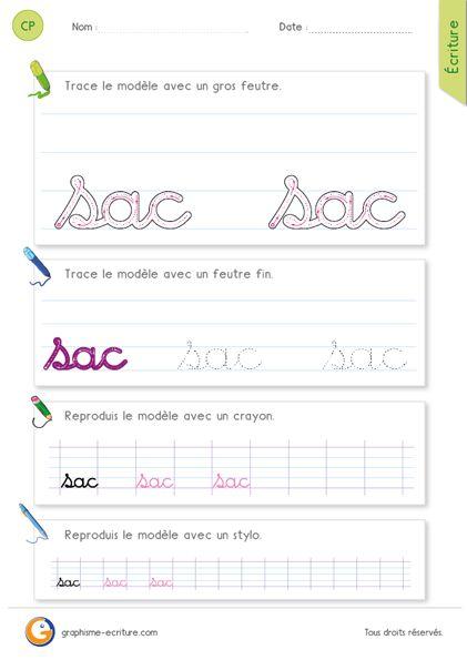 Apprendre à écrire le mot sac en minuscules cursives – Combinaison lettre complexe et arrondis. Fiche pour apprendre l'écriture cursive au Cycle 2.