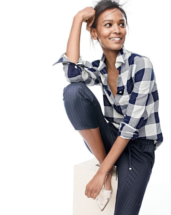 J.Crew women's shrunken boy shirt in buffalo check, slouchy pant in pinstripe and starry T-strap flats.