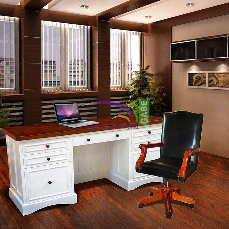 Scarlet #desk #classicdesign #twotone #color nice desk for #boss solid teak wood #office #furniture #furnituretoday #gabeinternational #handmade ready #customdesign