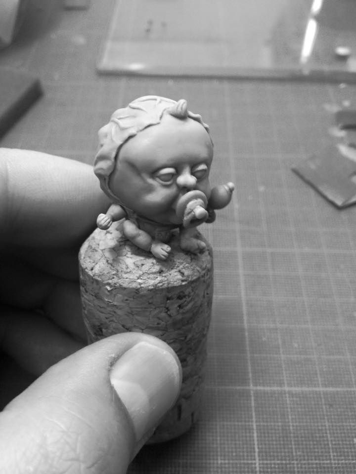 """My latest miniature sculpture """"Ah Goo the baby cabbage"""""""