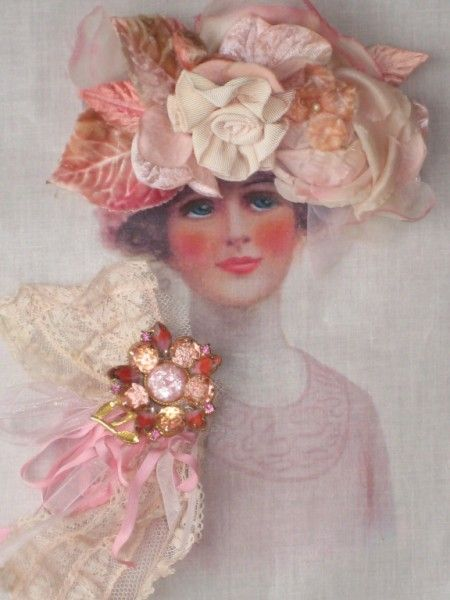 Antique picture of woman with 3D flowers on hat and dress.