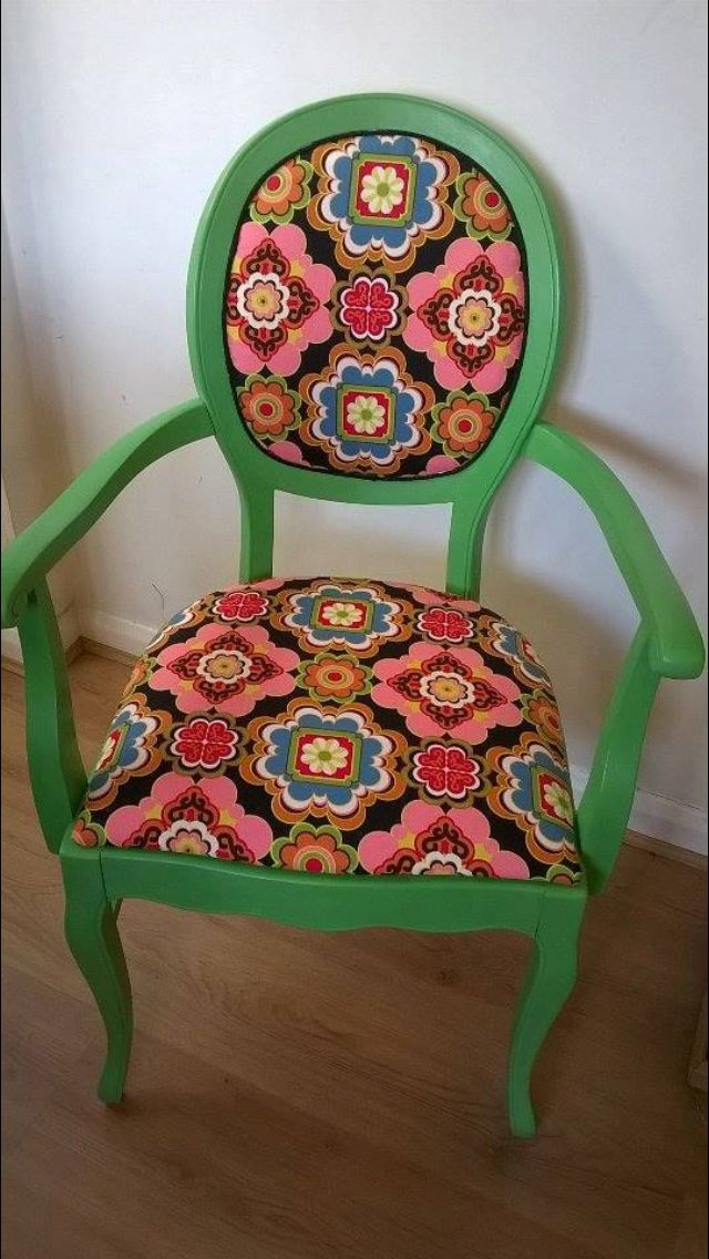 Funky chair reupholstered and painted in Vintro chalk paint