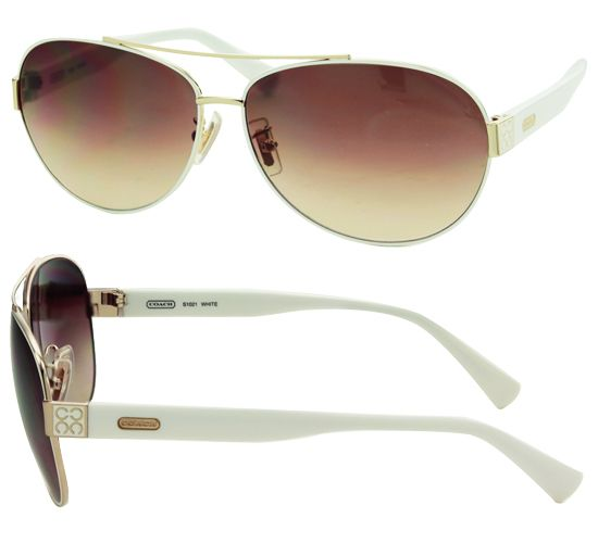 White Aviator Coach Sunglasses... Oh I need/want these soooooo bad!!