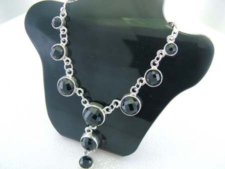 925 Sterling Silver Necklace w/ Circle Black Spinel Gems (Order)