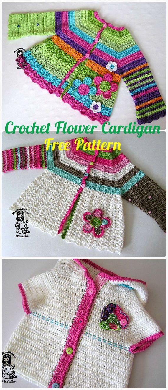 Crochet Kids Flower Cardigan Sweater Free Pattern - Crochet Kid's Sweater Coat Free Patterns