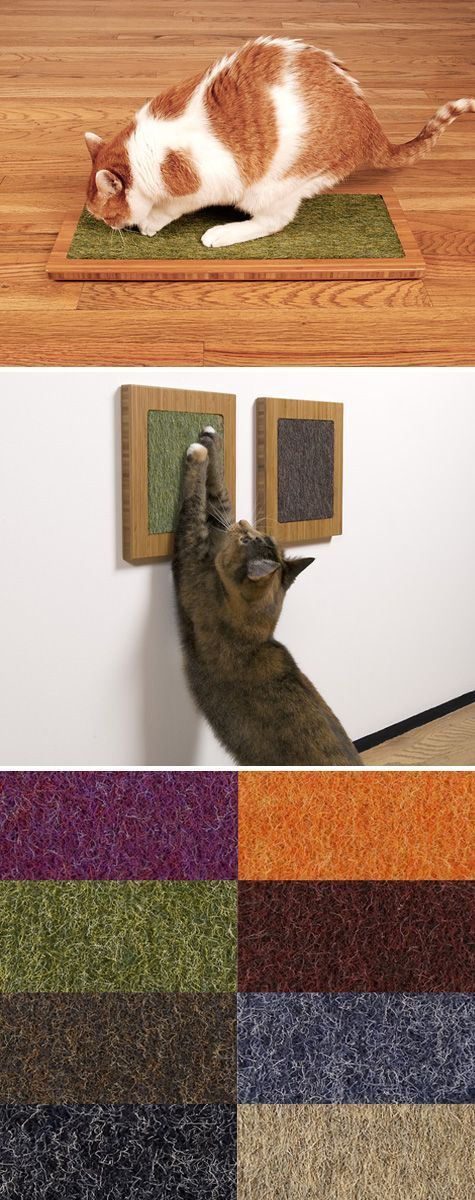 low profile cat scratchers from square cat habitat. Love the idea of putting them on the wall. I'd like to fasten them on backs of sofas. Knowing my cats though, they'd scratch right next to them. Worth a try.