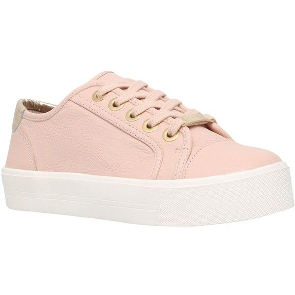 Carvela Lorna Lace Up Trainers, Nude ($155) ❤ liked on Polyvore featuring shoes, sneakers, woven sneakers, flat shoes, canvas sneakers, canvas flat sneakers and woven leather shoes