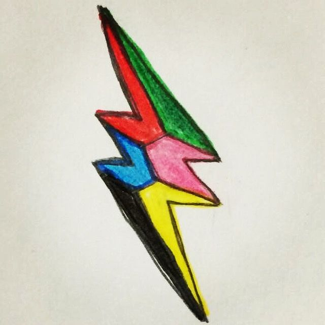 My Drawing Of The 2017 Power Rangers Lightning Bolt Symbol (With The Added Green Colour). #drawing #lightningbolt #6 #mightymorphinpowerrangers #powerrangers #2017 #red #redranger #green #greenranger #blue #blueranger #pink #pinkranger #black #blackranger #yellow #yellowranger