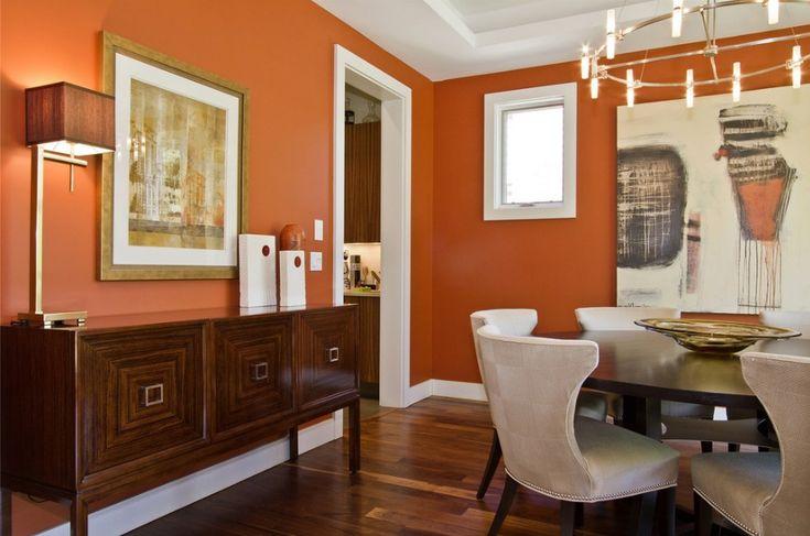 Burnt orange dining room earth tones contemporary