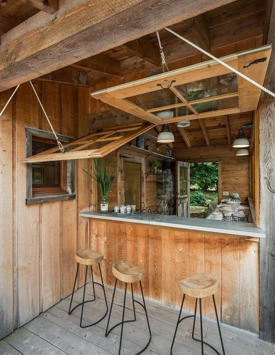 Expert Tips to DIY Your Own Backyard Bar Shed on domino.com http://www.mancavegenius.org/