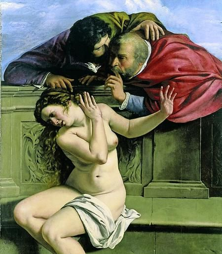Een van de eerste werken van Artemisia Gentileschi: Susanna en de oude mannen. Wrede vrouwen in mooie gewaden die koppen afhakken van mannen, tentharingen in hun hoofden slaan en ze met hun schoonheid en listigheid veroveren.