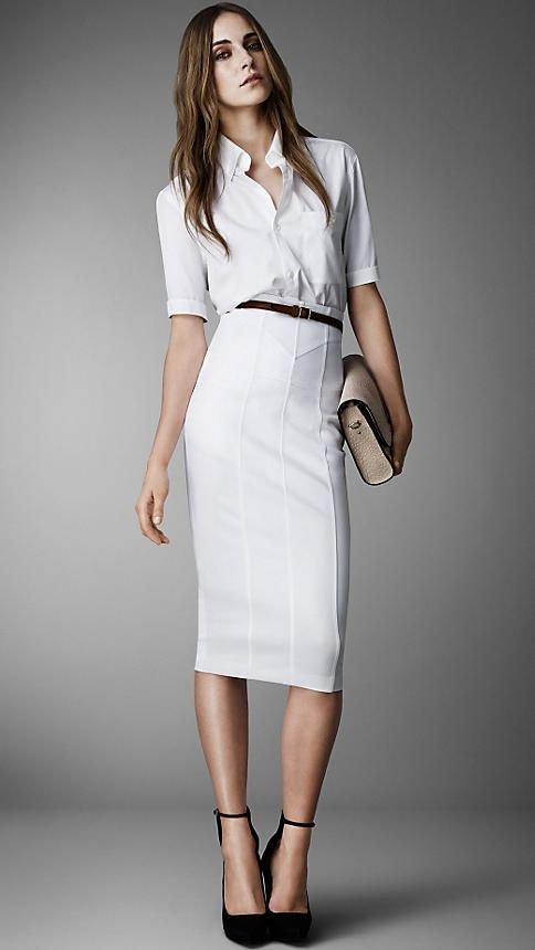 This white Corset-Jersey Pencil Skirt | Burberry, is beyond sexy. The fit is incredible, crisp and professional, yet crazy hot, too.