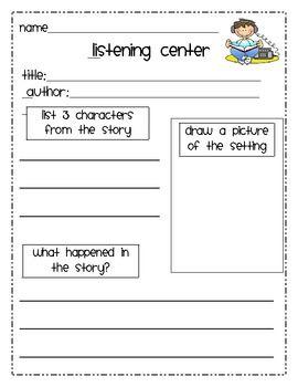 Student Response Sheet for Listening Center