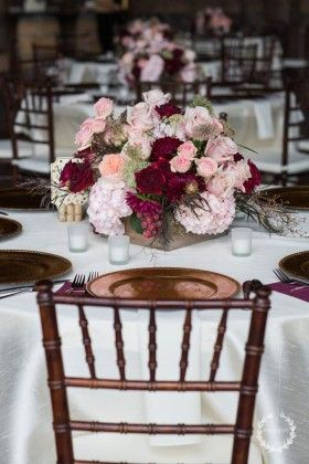 blush, merlot and marsala centerpieces with gold accents for a fall