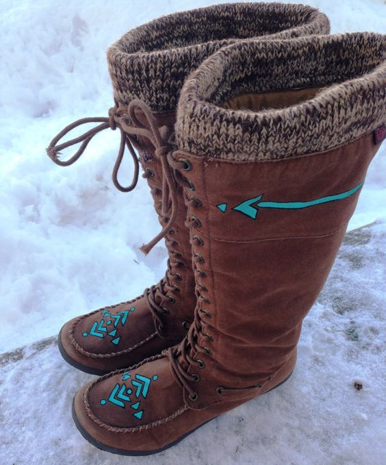 Native American Hippie Suede Tribal Turquoise Winter ...