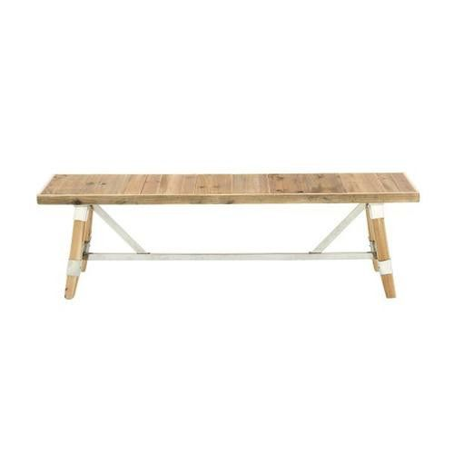 Customary Wood Stainless Steel Bench