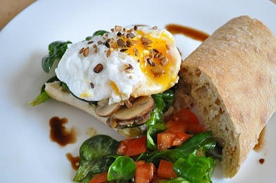 Healthy set-you-up breakfast or simple lunch - ciabata roll with poached egg and salad