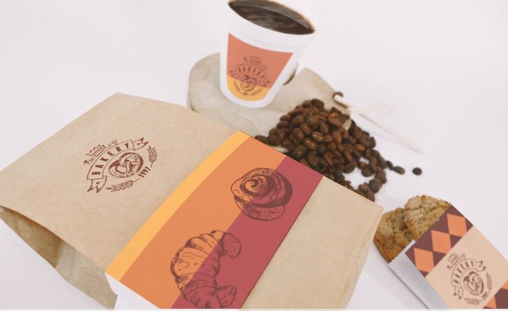 Bakery package design for bag and coffee