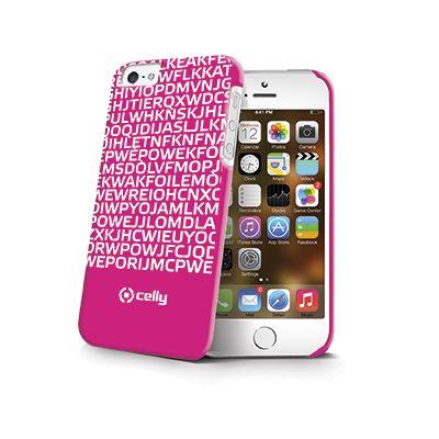 Cover per Iphone 5 e 5s a sfondo rosa con scritte bianche con messaggio nascosto I LOVE YOU fluorescente, ideale per chi vuole lasciare un segno indelebile nel cuore della dolce metà.