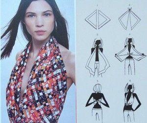 Porter un foulard en soie comme d'un bustier.