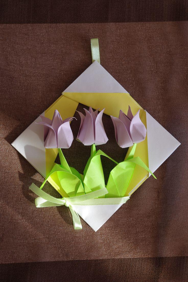 Spring pastel bouquet - TULIPS in frame. Origami paper gift GORGEOUSSSSSSSSSSSSS !! <3 <3 <3 <3 <3 <3 <3 <3 <3 <3 <3 <3 <3 <3 <3