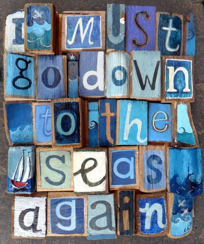 By Lizzie Spikes - I must go down to the seas again. Driftwood Art.