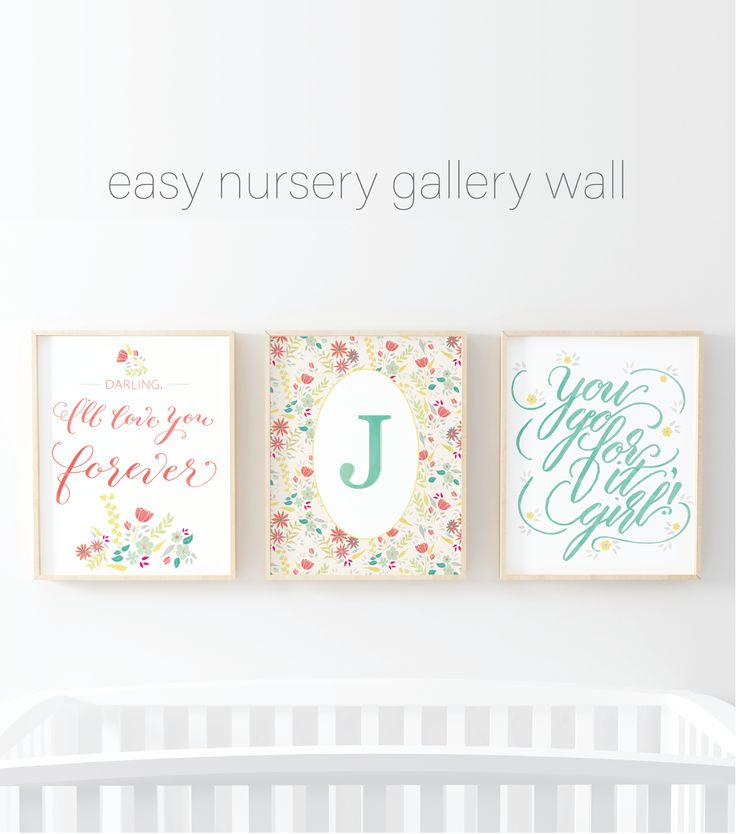 Effortless coordinating girls' room wall art set, including a personalized letter monogram. Makes it easy to create a unique 3 piece nursery gallery wall!