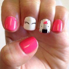 Girly lipstick eyelash gel nail art