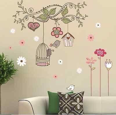 Vinilo decoracion pared arbol pajaros y jaula estilo vintage dormitorio salon