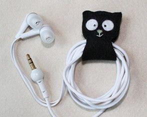 Organizador de fone de ouvido gatinho
