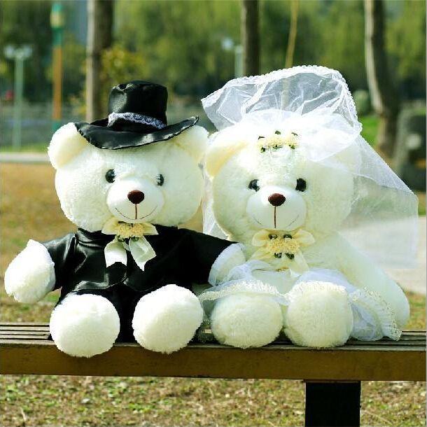 2 шт. / пара 20 см пара медведь свадьба плюшевый медведь плюш игрушки свадьба подарок