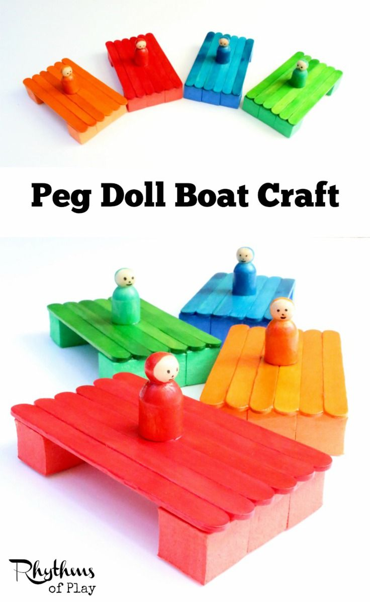 This peg doll boat craft provides hours of learning fun. These boats can be made with or without the peg doll. Experiment with different numbers of craft sticks, foam blocks, and items placed on top for a fun STEM activity for kids. They are fun to play w