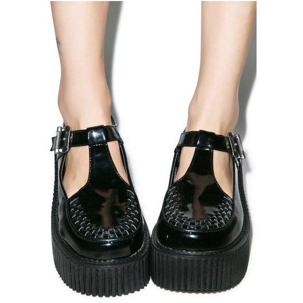 Demonia Patent T-Strap Creepers ($65) ❤ liked on Polyvore featuring shoes, creeper shoes, demonia creeper, patent shoes, demonia shoes and t bar platform shoes