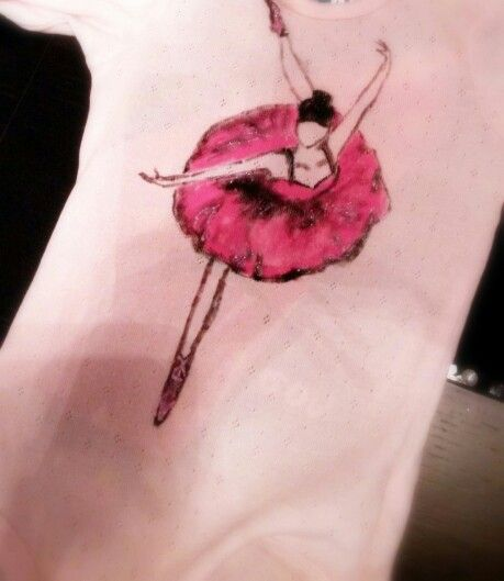Hand painted, t shirt, baby girl, ballerina, pointe