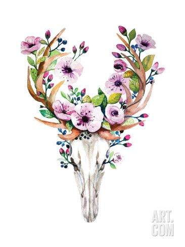 Bright Watercolor Vector Deer Skull with Flowers. Reproduction d'art