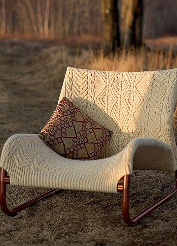 super comfy looking cream cable knit chair