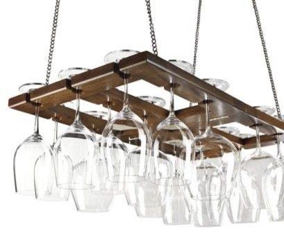 Hanging Oak Stemware Rack. Drape Christmas lights on top for a multipurpose decoration.