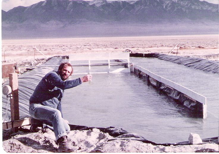 Dr. Cysewski with a spirulina pond in Nevada | Nutrex Hawaii
