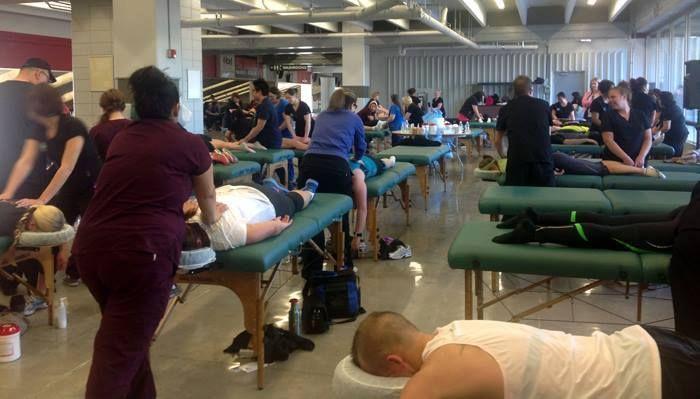 #MaKami students massaging at the 2013 #Calgary Marathon!