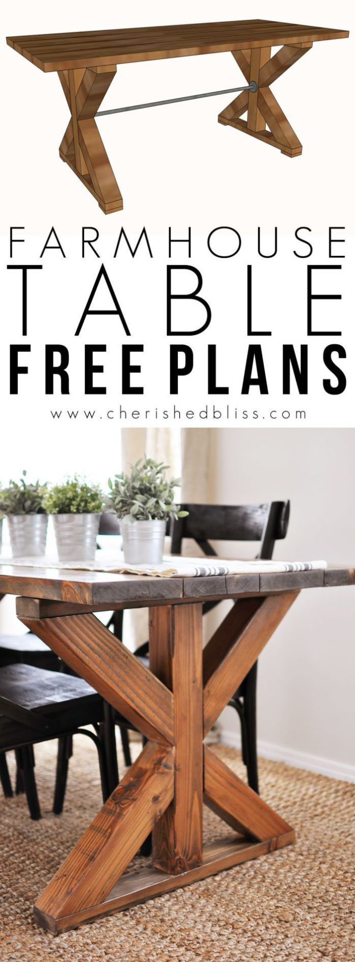 Best Diy Crafts Ideas For Your Home : This easy to build Farmhouse Table is the perfect addition to any dining or brea