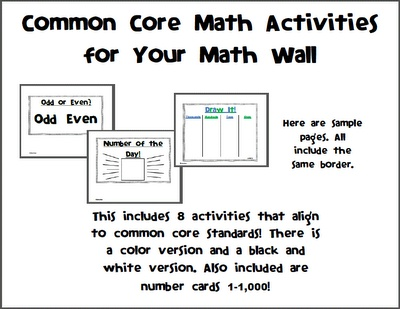 Common core activities for your math wall! (With images