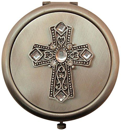Art Exhibition Fei Gifts Cross Compact Mirror Beautiful pact mirror with pewter Cross on it A